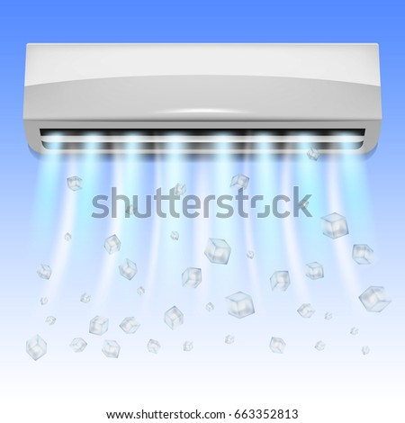 Air conditioning. Realistic air conditioner with flying ice cubes and flows of cold air. Isolated conditioner. Air conditioning concept