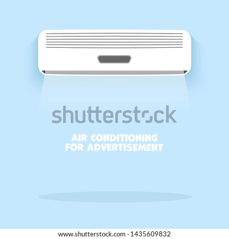 Air conditioning, vector cooling breeze blows cold flat icon
