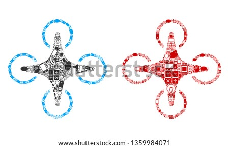 Air Drone composition icons done for bigdata purposes. Vector air drone mosaics are united from computer, calculator, connections, wi-fi, network icons into abstract patterns. Usual and red colors.