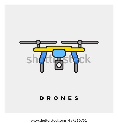 Air Drone Icon (Line Art Vector Illustration in Flat Style Design)