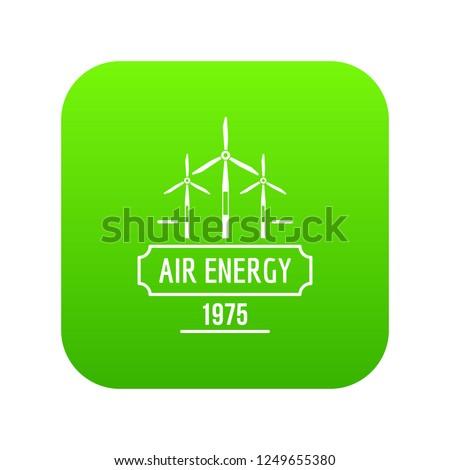 air energy icon green vector