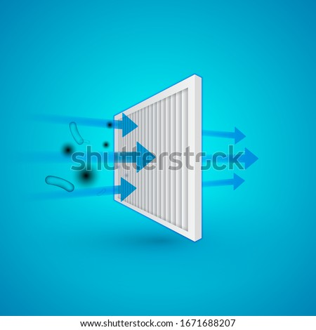 Air filter effect. Antibacterial, dust, solid particle filtration and ventilation technology example illustration.