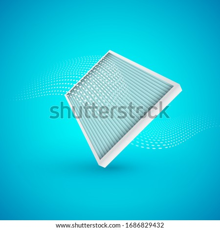Air filter with air flow on blue background. Vector Illustrtaion.  Photo stock ©