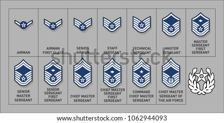 Air Force Enlisted Rank Insignia - Isolated Vector Illustration