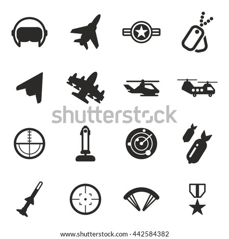 air force icons flat design