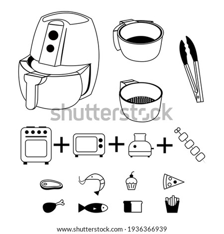 Air fryer kitchen vector line design isolated on white background. Air grill.Drawing lines. Air grill icon for instructions.Air grill with food icons.Airfryer parts.Editable stroke