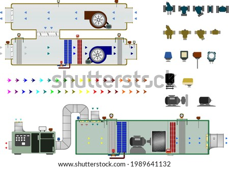 Air Handling Units with some additional equipment to help in the design of HVAC and BMS System. Added coloured flow arrows for various indication. Contains valves and actuators for customisation. Foto stock ©
