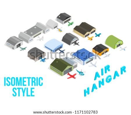 Air hangar concept icons set. Isometric set of air hangar concept vector icons for web isolated on white background