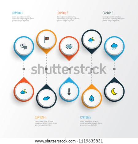 Air icons colored line set with degree, lunar, moonbeam and other hazy elements. Isolated vector illustration air icons.