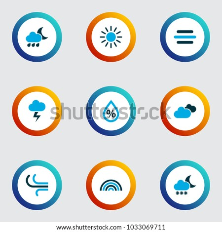 air icons colored set with
