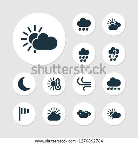 Air icons set with overcast, wind, temperature and other overcast elements. Isolated vector illustration air icons.
