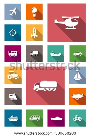Air, land and water transportation flat icons with airplane, hot air balloon, bus, truck, car, barge, motorbike, tractor, helicopter, car tank truck, yacht, submarine, rocket and liner