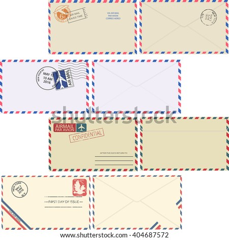 Air mail envelope with postal stamp isolated on white background. Set of vintage air mail envelopes with stamps, postal elements and copy space for text top view. Minimal vector illustrator.