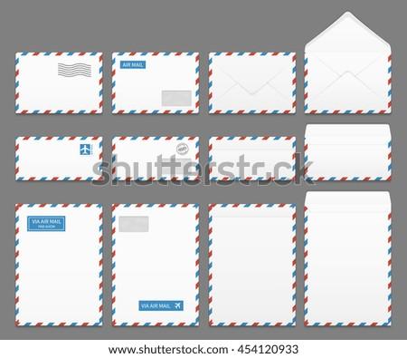 Air mail paper letter envelopes vector set. Blank envelope for airmail, illustration of correspondence envelopes Foto stock ©