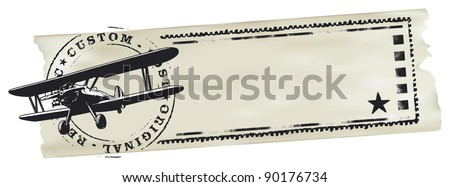 air mail stamp with world map and paper banner