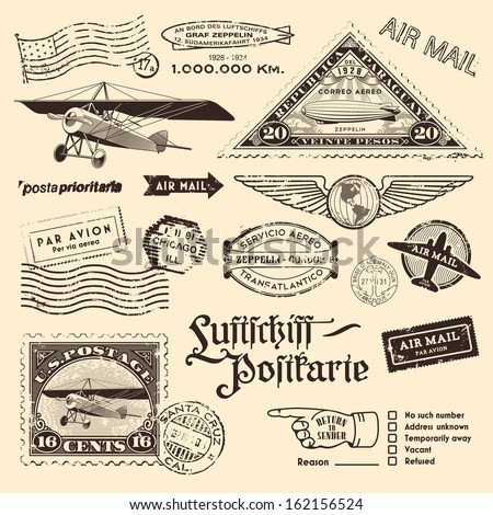 air mail stamps and other...