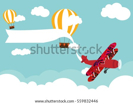 air plain and hot air balloon