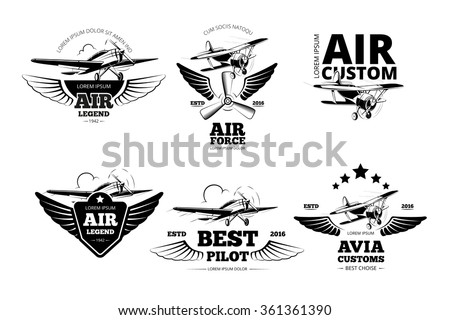 air plane emblems vector labels