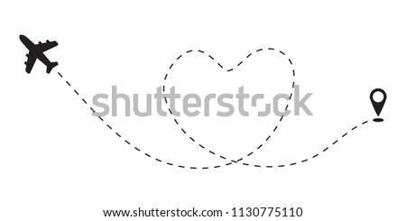 Air Plane flight route heart dash line trace.Airplane line love path travel white background vector icon.