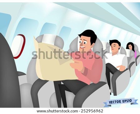 air plane interior vector