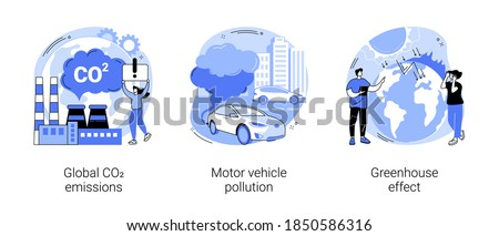 Air pollution abstract concept vector illustration set. Global CO2 emissions, motor vehicle pollution, greenhouse effect, car exhaust, transportation industry, ozone layer abstract metaphor. Сток-фото ©