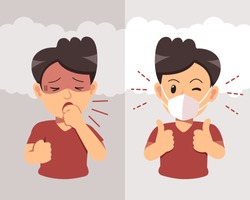 Air pollution concept man coughing and wearing protective face mask against smoke on background for design.