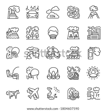 Air pollution, icon set. harmful or excessive quantities of substances into Earth's atmosphere, linear icons. Sources of air pollution. Health, respiratory protection. Line with editable stroke