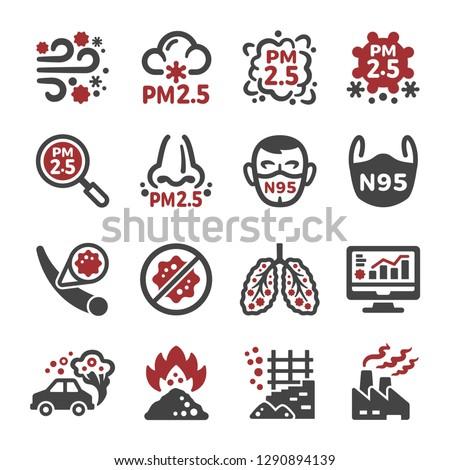air pollution pm 25 icon set