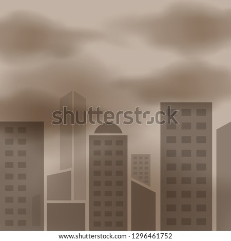 air pollution smoke cloud dust mist in city, problem in atmosphere sky environment, toxic pollution in atmosphere smog mist city for background banner, clouds air pm 2.5 in bangkok thailand (vector)