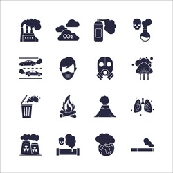 Air Pollution Vector flat Icons Set. flat simple isolated icons.