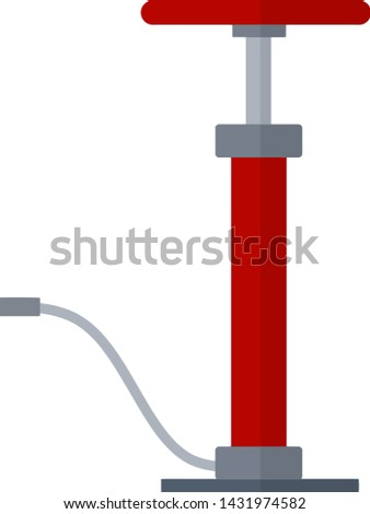 Air pump. Mechanical device for pumping. Pressure increase. Cartoon flat illustration. Red cylinder with handle and hose