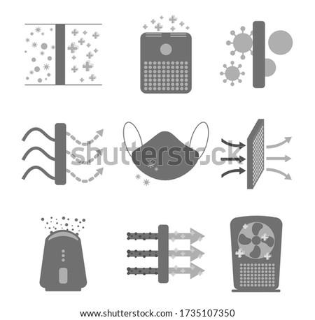 air purification icon set