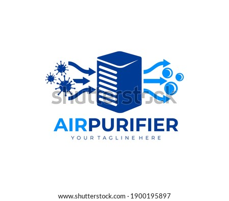 Air purifier for filter and cleaning removing dust and virus, fresh air, logo design. Air conditioner, air filtration and purification for virus protection and particles, vector design