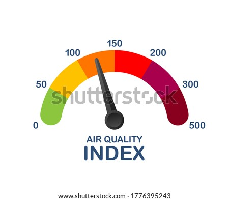 Air quality index. Educational scheme with excessive quantities of substances or gases in environment. Vector stock illustration.
