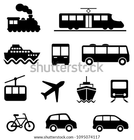 Air, sea, land and public transportation icon set