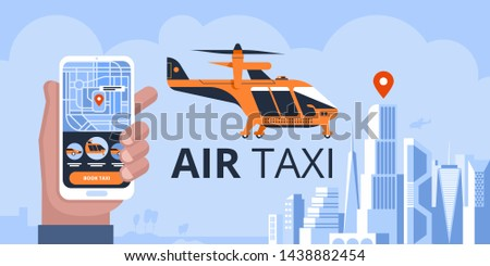 Air taxi drone or passenger quadcopter. Flying futuristic rotor vehicle. Modern unmanned electric aircraft or automated quadrotor on city background. Cartoon colorful vector illustration.
