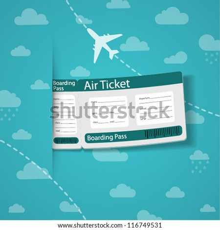 Air ticket on sky background. Vector illustration.