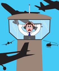 Air Traffic Controller is panicking as aircraft surround his tower