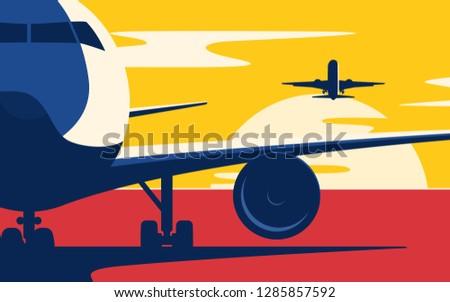 air traffic flat style vector