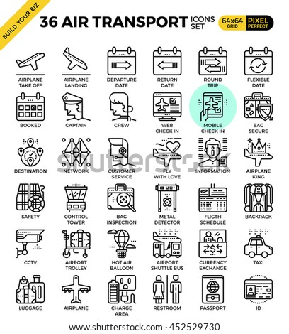 air transport   travel outline