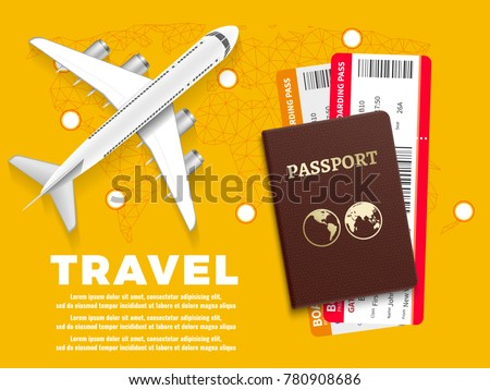 Air travel banner with plane world map and passport - vacation concept design. Banner with airplane and vacation tickets. Vector illustration