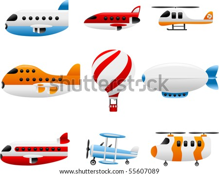 air travel icons - vector