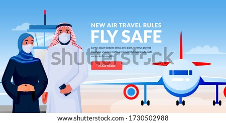 Air travel new rules, healthy and safe flight concept. Arabian man and woman in medical protection masks at airport terminal. Vector illustration of traveling muslim arabian couple characters