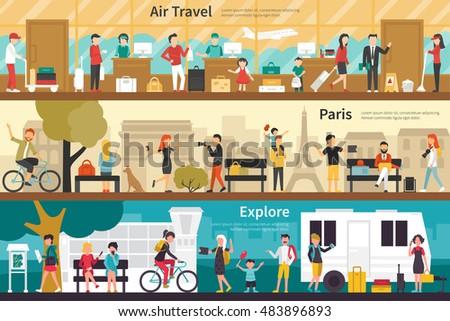 Air Travel Paris Explore flat interior outdoor concept web