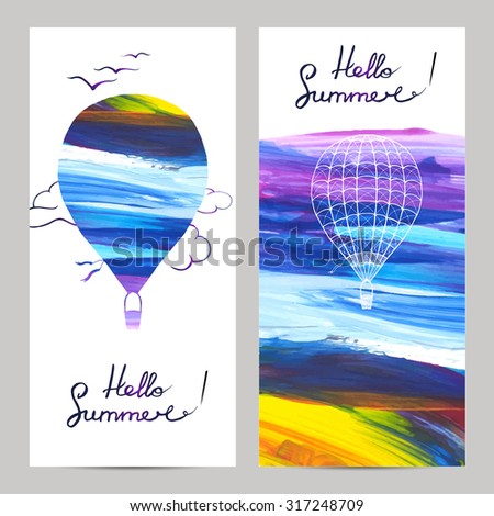 Air travel vertical banners set with hot air balloons silhouettes on painted background isolated vector illustration #317248709