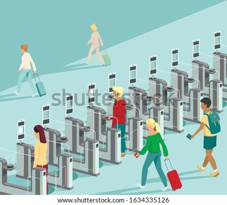 Air travellers pass through automated passport border control gates flat vector illustration Photo stock ©