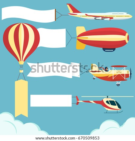 Air vehicle with banner set. Airplane, Dirigible, hot air balloon with blank poster. Plane, Zeppelin Biplane, helicopter with white ribbon in blue sky. Vector