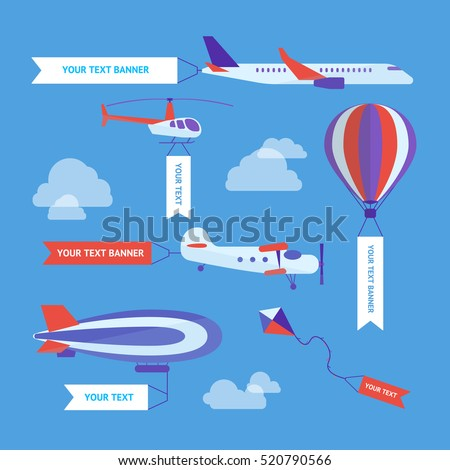 Air Vehicles Banners Set with Empty Ribbons for Your Text on Sky. Flat Design Style. Vector illustration