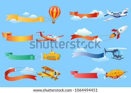 Air vehicles with horizontal banners set, helicopter, airplane, biplane, airship with ribbons vector Illustrations