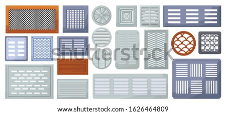Air vent vector cartoon set icon.Vector illustration ventilation grate on white background .Isolated cartoon set icon air vent . Photo stock ©